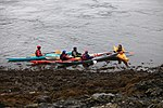 Kayakers resting Resting on South side of entrance to Loch Etive, just seaward of Connel Bridge