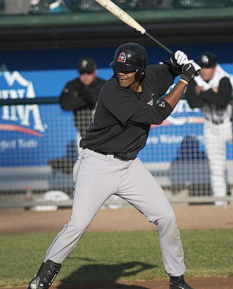 Kenley Jansen - Jansen batting for the Great Lakes Loons in 2008