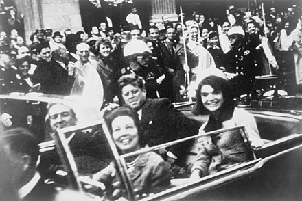 John F. Kennedy assassination – President Kennedy with his wife, Jacqueline, and Texas Governor John Connally in the presidential limousine, minutes before his assassination. - 1960s