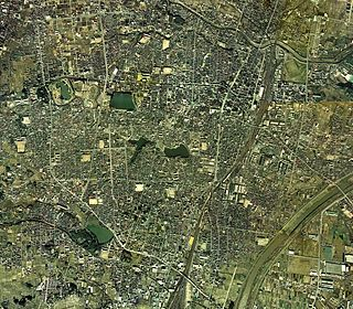 Koriyama city center area Aerial photograph.1975.jpg
