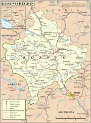Political map of Kosovo.