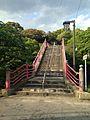 Koyasu-Shimbashi Bridge and torii of Upper Shrine (Enagaura Shrine) of Umi Hachiman Shrine.jpg