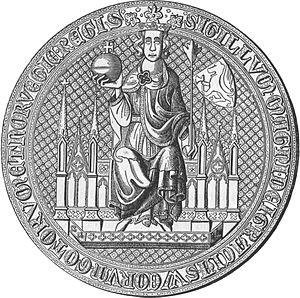 Kensington Runestone - Sigillum ad causas for Magnus Eriksson, King of Norway and Sweden