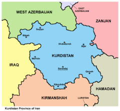 Mapa Ostanu Kurdystan