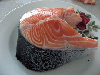 Meat on the bone - Cut of raw salmon showing bone in the centre