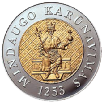 Seal of Mindaugas - Commemorative coin of 200 litas was issued in 2003 and used the reconstructed image from the Seal of Mindaugas (by Petras Repšys)