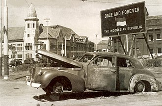 Surabaya - The burnt-out car of Brigadier Mallaby on the spot where he was killed by pro-independence Indonesian soldiers during the Battle of Surabaya on 31 October 1945