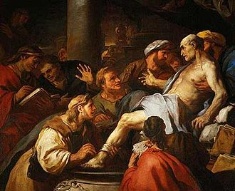 The Death of Seneca (1684), painting by Luca Giordano, depicting the suicide of Seneca the Younger in Ancient Rome La mort de seneque.jpg