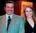 La multipremiada periodista Karen Marón en la Cumbre Mundial de la Paz con el Ministro Gustavo Oliva, Agregado de la Embajada de Argentina en Colombi.jpg
