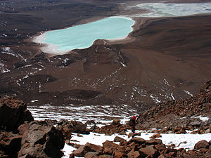 Sur Lípez Province - Laguna Verde and Laguna Blanca as senn from Licancabur, Sud Lípez Province