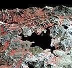 False-colour view of Laguna del Maule