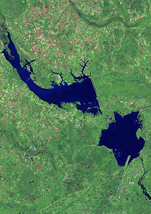 Lake Marion (South Carolina) - Lake Marion (top) and Lake Moultrie (bottom right) from space