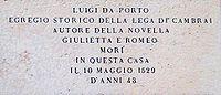 Lapide commemorativa di Luigi da Porto (Vicenza, Contr� Porti)