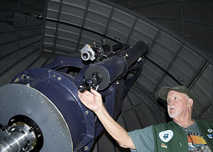 Finderscope - Tour guide points out the double Finderscope on the 24.5 inch Cassegrain Telescope at the Goldendale Observatory State Park.
