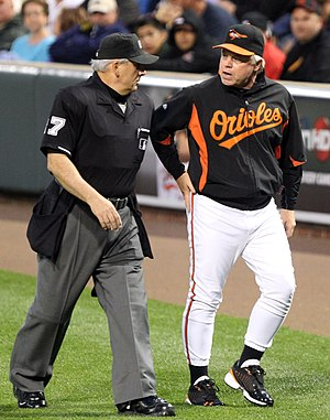 English: Umpire with Orioles manager .