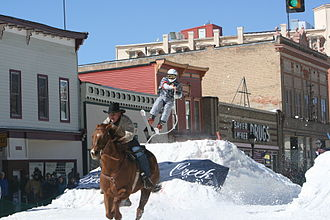 Skijoring - Skijoring with horses; some variants include slalom gates and jumps.