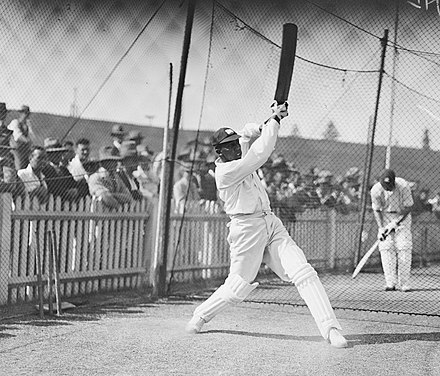 Constantine practising his batting in the nets