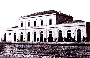Lecce railway station - The passenger building in 1866.