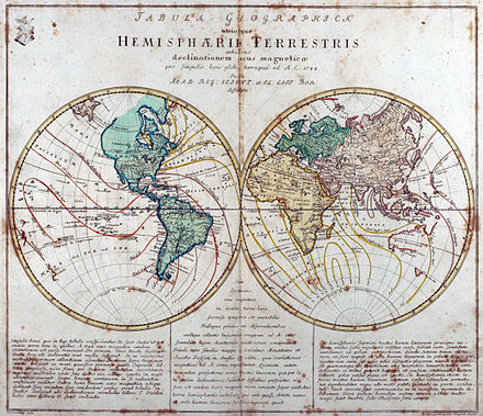 "Engraved world map (including magnetic declination lines) by Leonhard Euler from his school atlas ""Geographischer Atlas bestehend in 44 Land-Charten"" first published 1753 in Berlin Leonhard Euler World Map AD1760.jpg"