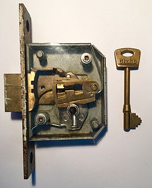 Lever tumbler lock - A 5 lever lock which is designed to be mortised into a door. The faceplate has been removed to see the inner workings.