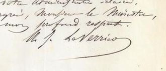 Urbain Le Verrier - Signature of M. LeVerrier