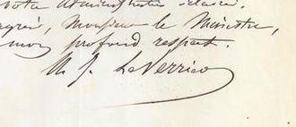 Urbain Le Verrier - Signature of M. LeVerrier