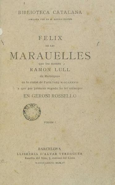 File:Libre apellat Felix de les marauelles del mon - Vol. I (1904).djvu