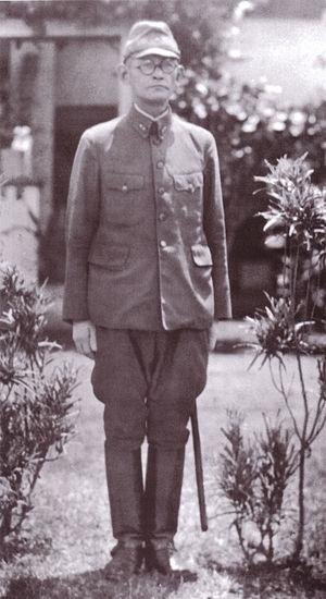Harukichi Hyakutake - Lieutenant General Harukichi Hyakutake in front of his headquarters at Rabaul, probably in the spring or summer of 1942.