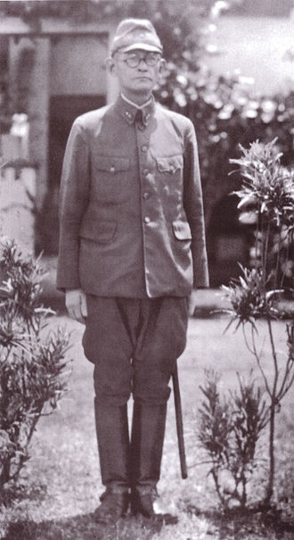 Harukichi Hyakutake - Lieutenant General Harukichi Hyakutake in front of his headquarters at Rabaul, probably in the spring or summer of 1942.