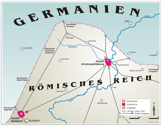 Wetterau Limes - Course of the limes in the Wetterau