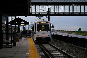 Lincoln station (RTD) - Northbound G-Line (now defunct) LRT awaits its departure time at Lincoln station.