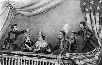 Lithografie des Attentats auf Lincoln; v. l. n. r.: Henry Rathbone, Clara Harris, Mary Todd Lincoln, Abraham Lincoln und John Wilkes Booth