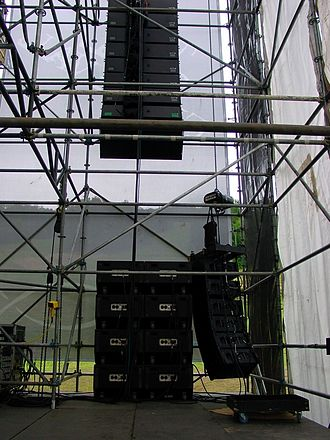 Line array - Two different line arrays rigged near a cluster of subwoofers