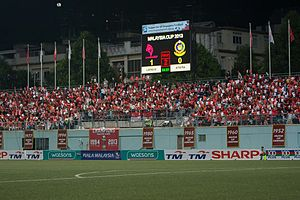 LionsXII - Typical support from LionsXII fans at the Jalan Besar Stadium every home match