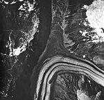 Lituya Glacier, tidewater glacier with wide moraines and fragmented connection to Desolation Glacier, August 24, 1963 (GLACIERS 5596).jpg