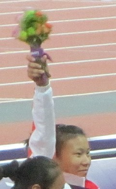 Liu Wenjun Gold Women's 100m T54 Victory Ceremony (cropped).jpg