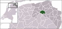 Location map of the province of Groningen with an insert of the Netherlands