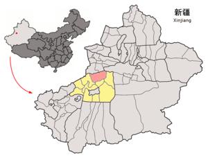 Baicheng County - Image: Location of Baicheng within Xinjiang (China)