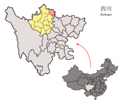 Location of Jiuzhaigou County (light red) in Aba (yellow) and Sichuan (light gray)