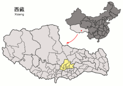 Location of Lhasa prefecture-level city jurisdiction in the Tibet Autonomous Region