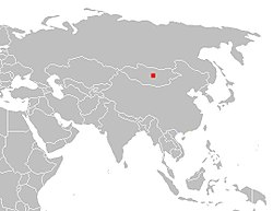 Pushpin on a map of Asia