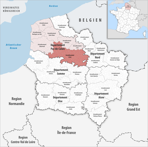 Arrondissement of Arras - Image: Locator map of Arrondissement Arras