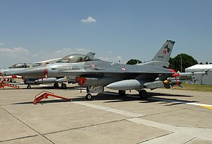 Aviation in Turkey - An F-16C fighter of the Turkish Air Force, produced by Turkish Aerospace Industries