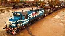 Locomotora Brian 8121 de Ferrosur Roca maniobrando en la estación Cañuelas.jpg