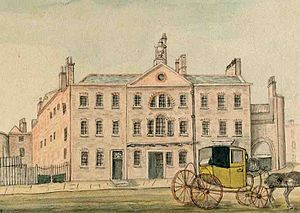 London Smallpox Hospital - The former London Smallpox Hospital, Coldbath Fields, south elevation, 1823.