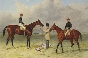 Lord Lyon (horse) - Lord Lyon (left) in 1867 with his racing-lessee Richard Sutton and five-year-old colt and Queen's Vase winner Elland in a painting by Harry Hall.