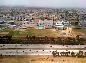 Los Angeles Southwest College - Aerial view of the college from the south, with I-105 freeway in foreground.