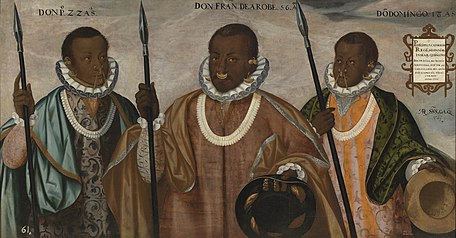 Example of the Quito School: Three mulattomen from Esmeraldas by Andrés Sánchez Gallque, ca. 1599. Museum of the Americas, Madrid[84]