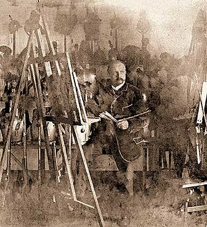 Louis Braun - Painting in his studio in 1900