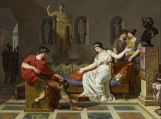 Death of Cleopatra - Cleopatra and Octavian, a painting by Louis Gauffier, 1787